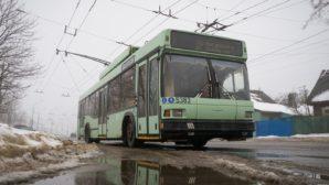 В городе Гомеле упал электрический столб на троллейбус